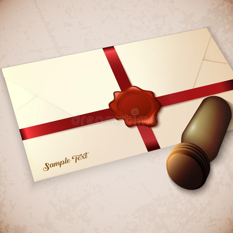 Envelope and red wax seal with seal stamp stock illustration