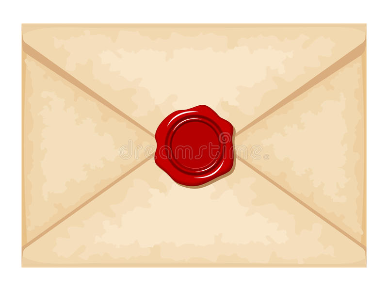Envelope with red wax seal. Vector illustration. vector illustration