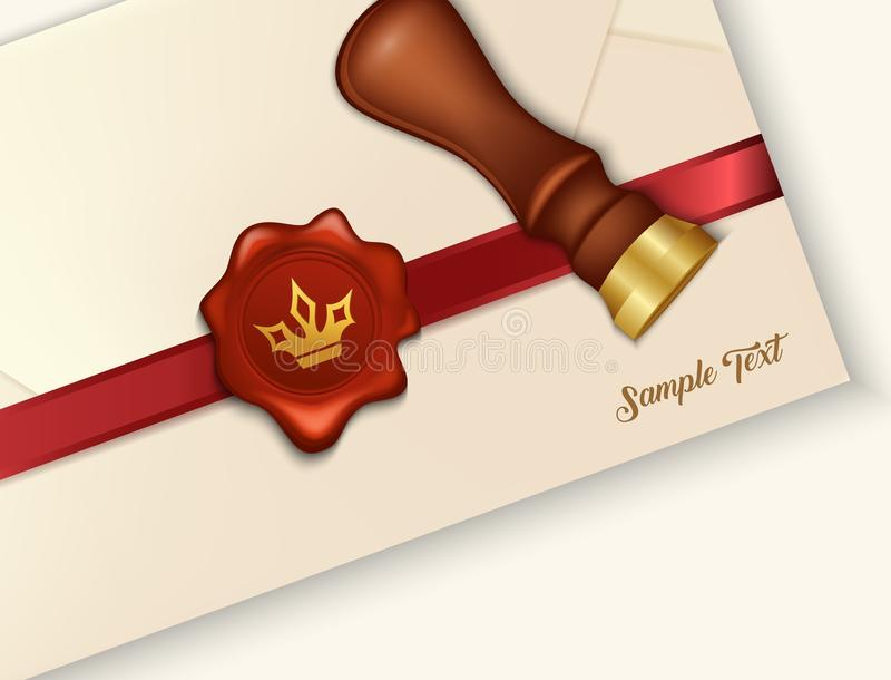 Envelope and red wax seal with wax seal stamp vector illustration