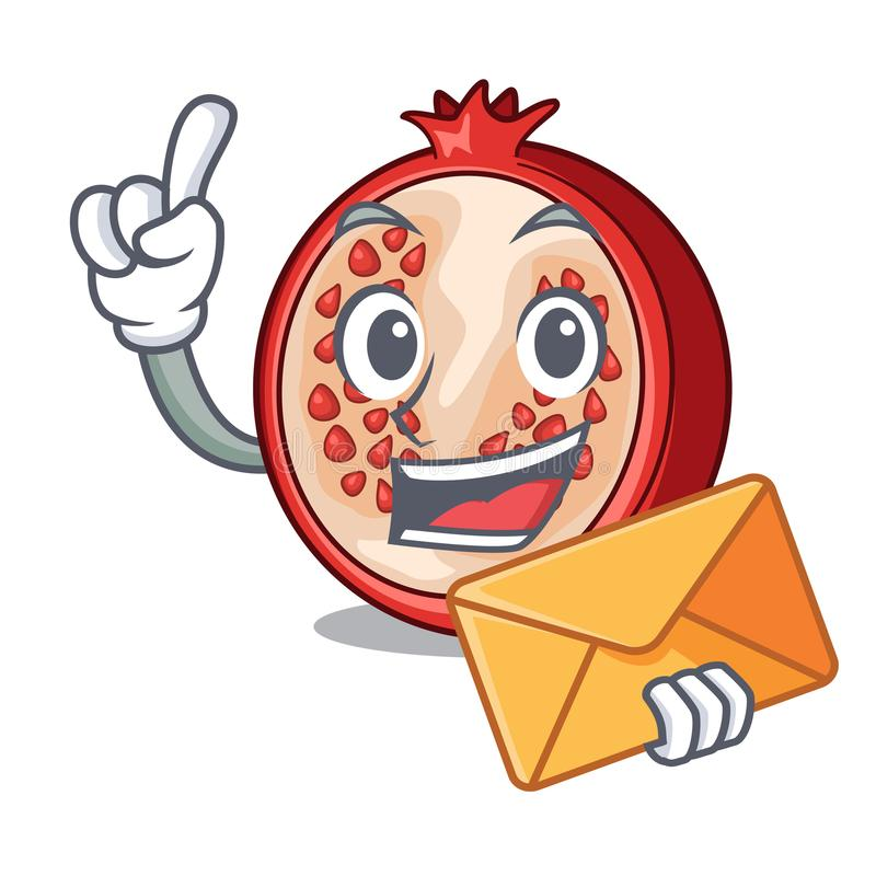 With envelope slice of ripe pomegranate character cartoon royalty free illustration