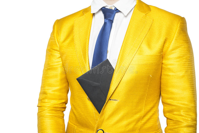 Envelope sticking out from behind the businessman jacket. Isolated on the withe background royalty free stock photos
