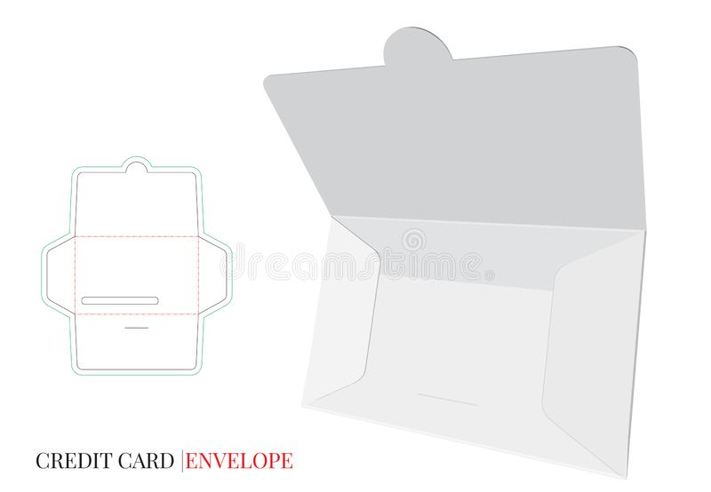 Envelope Template with die line, Vector with die cut / laser cut layers. Credit Card Envelope Design vector illustration