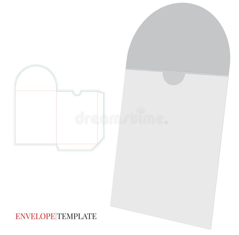 Envelope Template with die line, Vector with die cut / laser cut layers. vector illustration