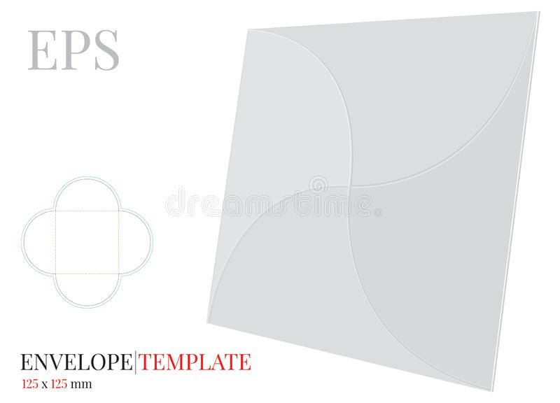Envelope Template with die line, Vector with die cut / laser cut layers. White, clear, blank, isolated  Envelope mock up royalty free illustration