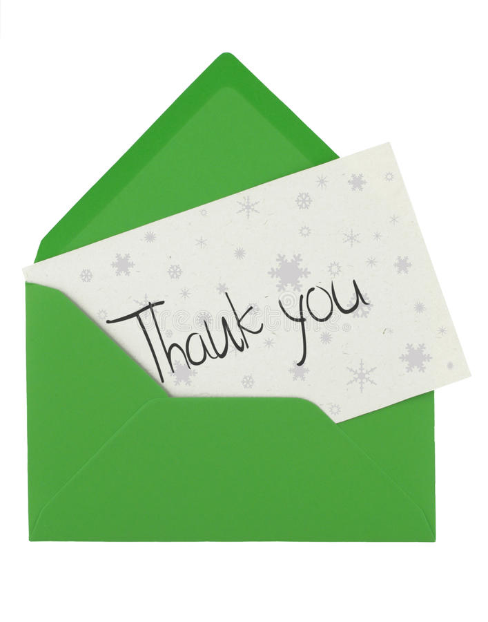 Envelope and thank you note stock image