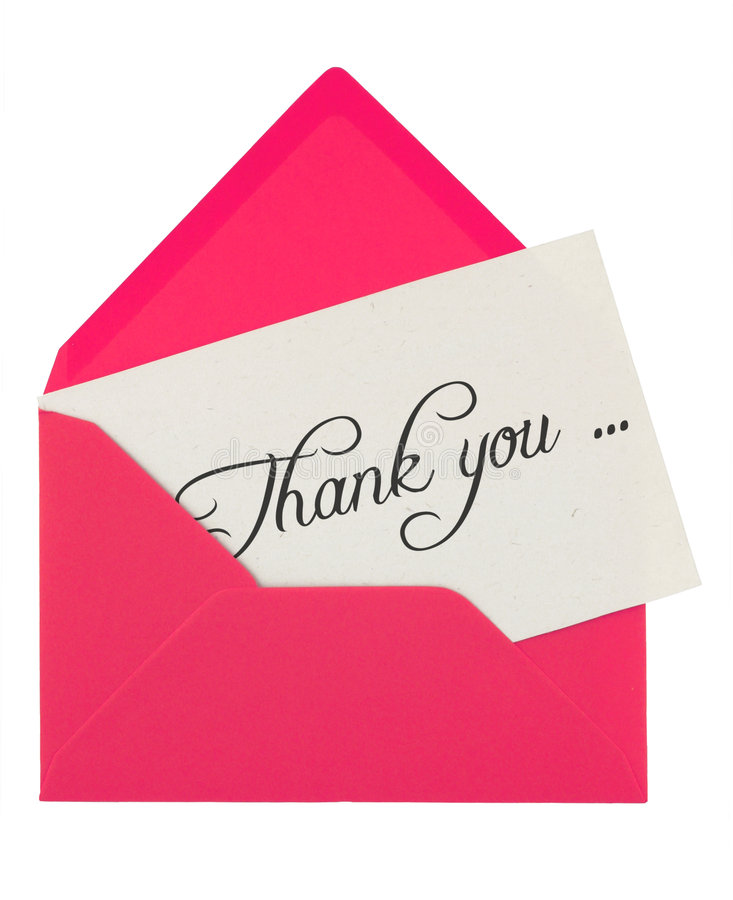 Envelope and thank you note. Pink envelope with a thank you card isolated on white royalty free stock image