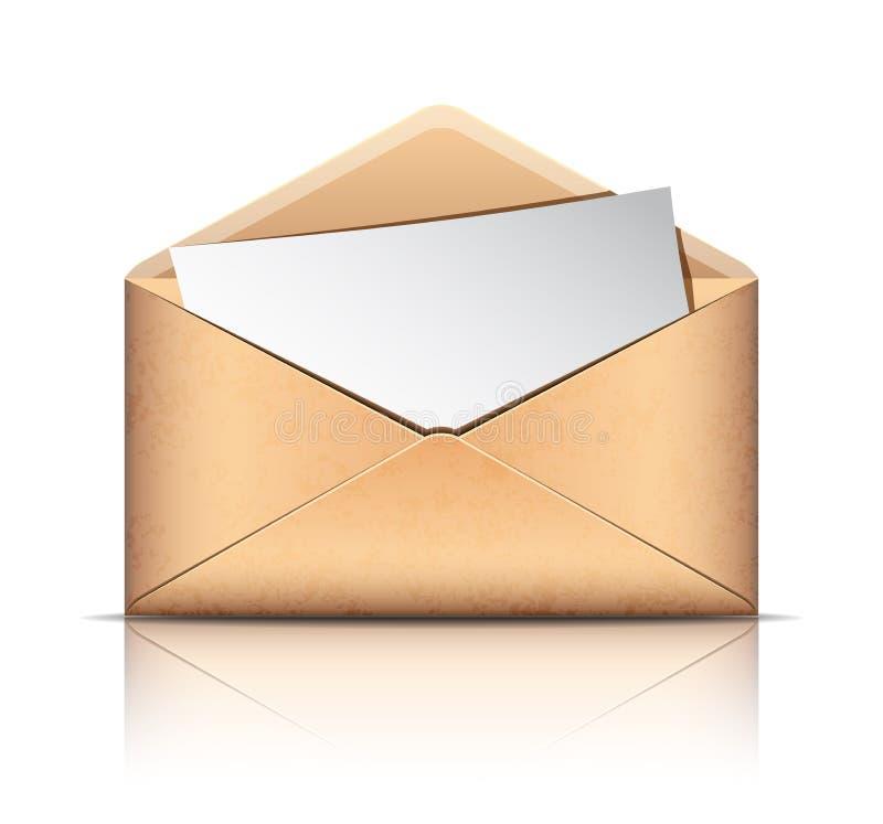 Envelope velho com papel vazio ilustração do vetor