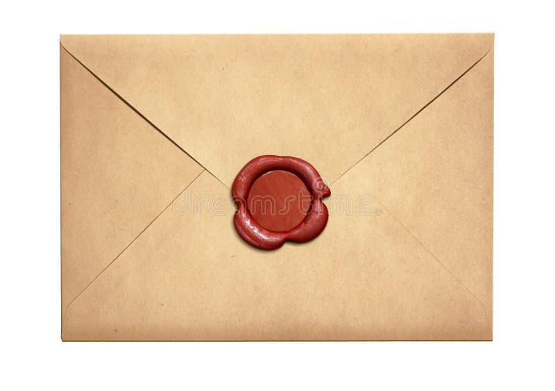 Envelope velho da letra com o selo vermelho da cera isolado imagem de stock