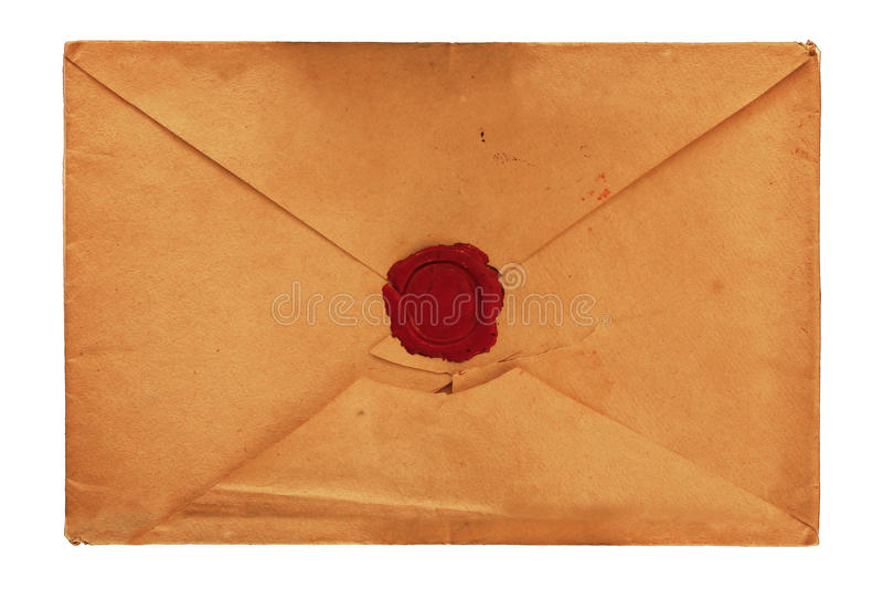 Envelope velho do papel do vintage com a cera de selagem vermelha fotos de stock royalty free