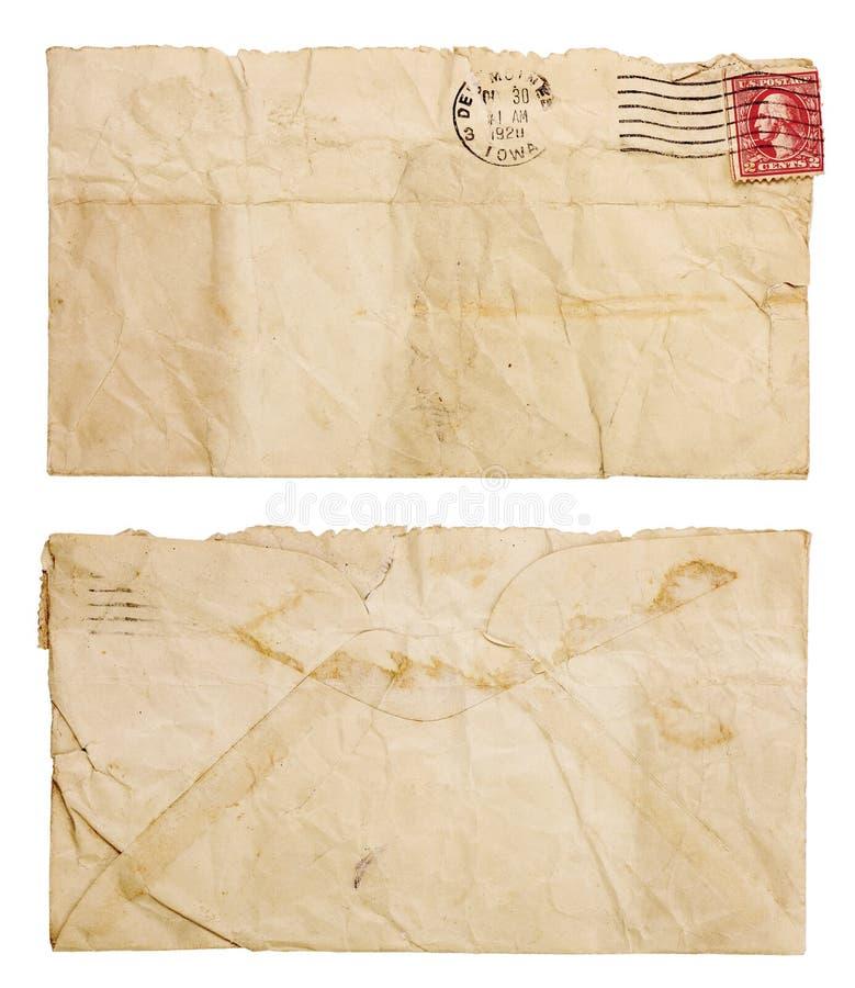 Envelope velho, enrugado fotografia de stock