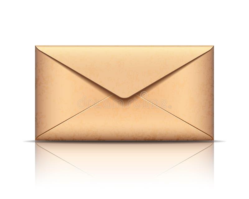 Envelope velho, isolado no branco ilustração stock