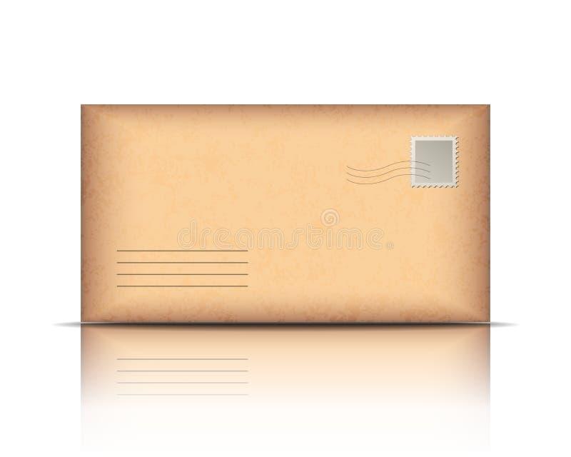 Envelope velho, isolado no branco ilustração do vetor