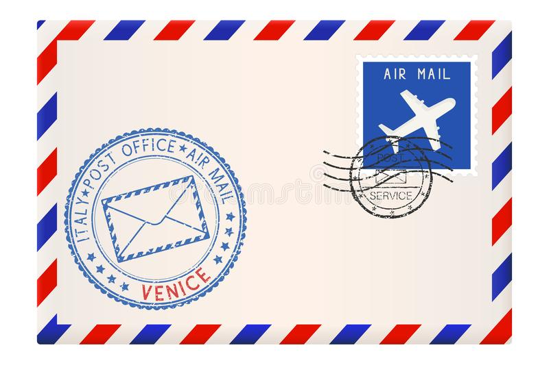 Envelope with VENICE stamp. International mail postage with postmark and stamps vector illustration