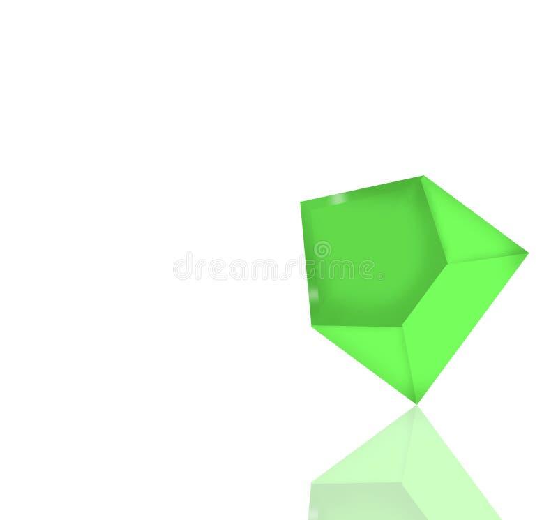 Envelope verde com o trajeto da reflexão e de grampeamento ilustração do vetor