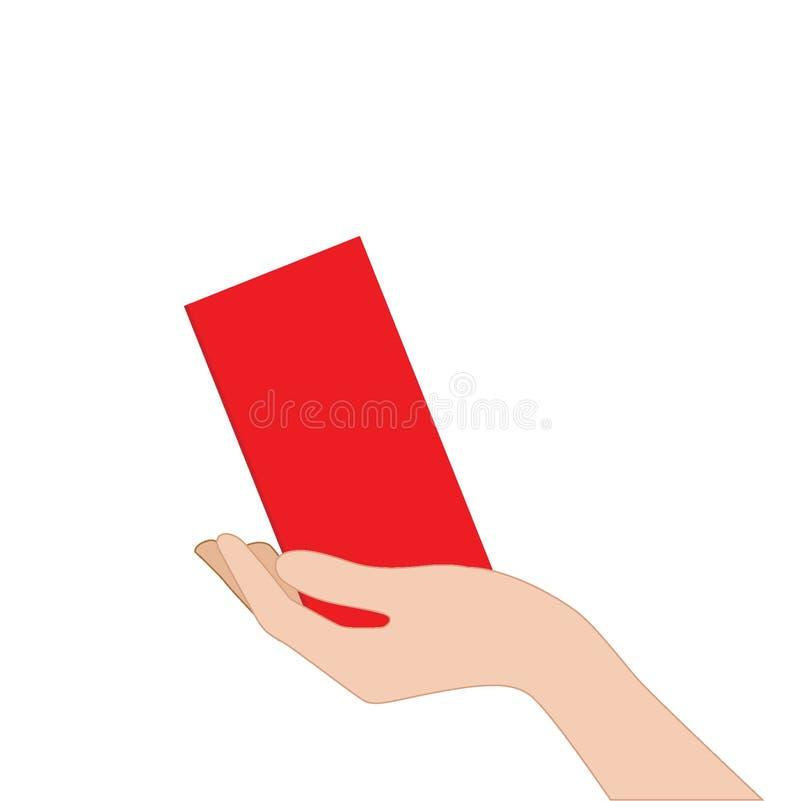 Envelope vermelho à disposição no fundo branco Ano novo chin?s ou conceito lunar do ano novo ilustração do vetor