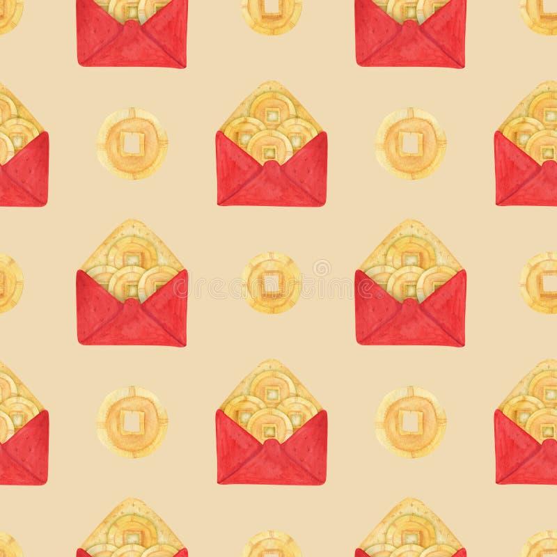 Envelope vermelho chinês e Lucky Money do ano novo ilustração do vetor