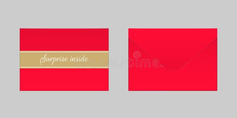 Envelope vermelho decorativo Zombaria do vetor acima ilustração royalty free