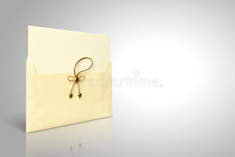 Envelope wedding. Envelope and mail wedding invitations, golden heart royalty free stock photos