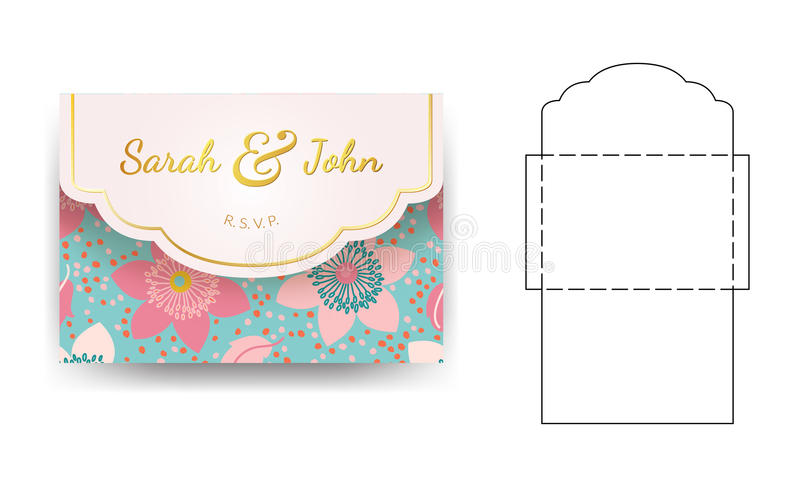 Envelope wedding invitation template with flower pattern. stock illustration