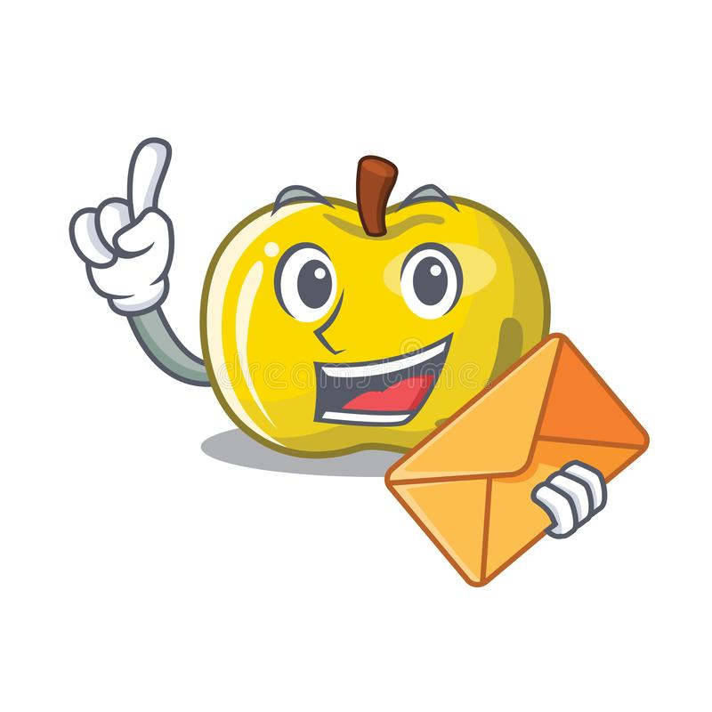 With envelope yellow apple in the character shape stock illustration
