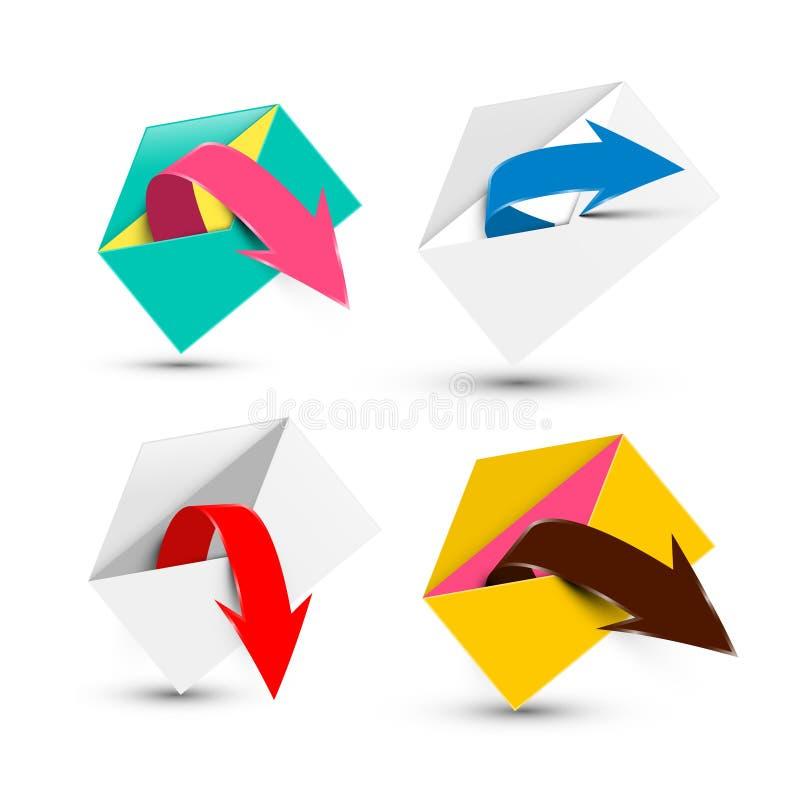 Envelopes abertos com as setas isoladas ilustração royalty free