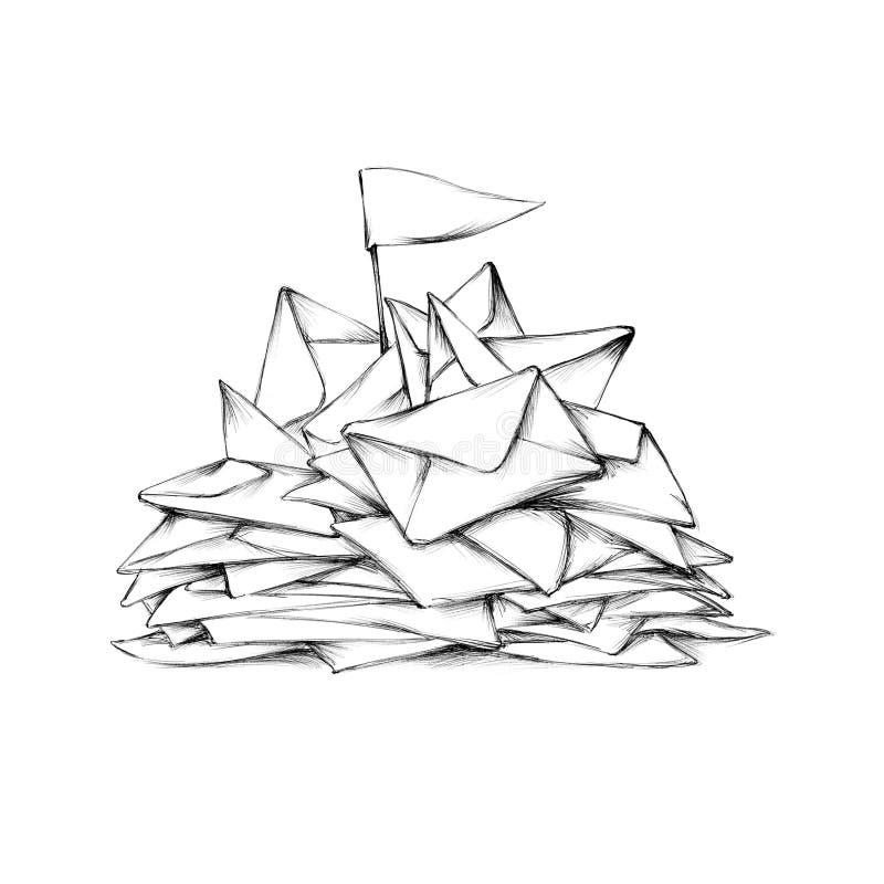 Envelopes acumulados no inbox ilustração royalty free