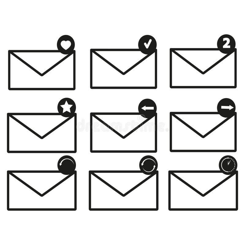 Envelopes ajustados dos ícones ilustração royalty free