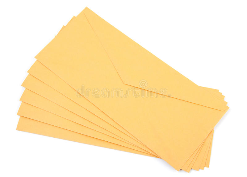 Envelopes amarelos fotografia de stock royalty free