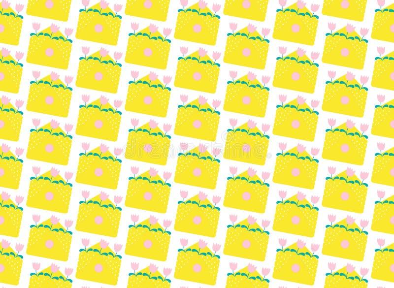 Envelopes amarelos do teste padrão Ilustra??o lisa ilustração do vetor