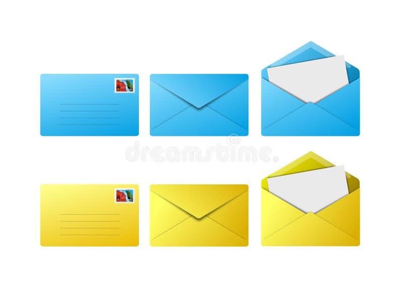 Envelopes azuis e amarelos ilustração royalty free