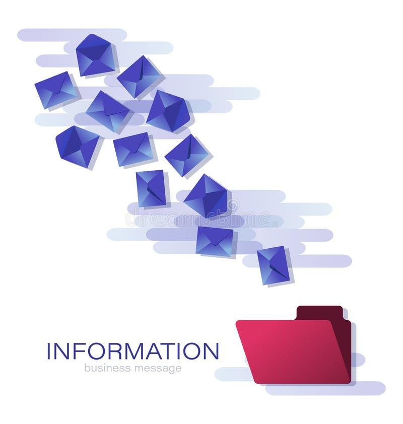 Envelopes azuis em voo mensagens ilustração stock