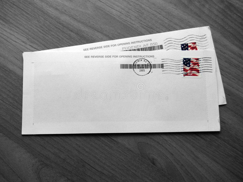 Envelopes (B&W - Isolated Color) royalty free stock images
