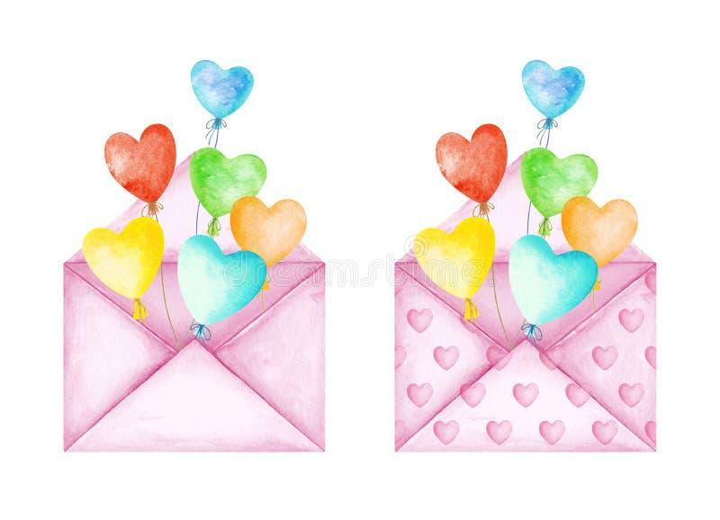 Envelopes bonitos da mensagem do amor Balões multicoloridos do coração Boa not?cia Dia do `s do Valentim Ilustra??o da aguarela ilustração do vetor