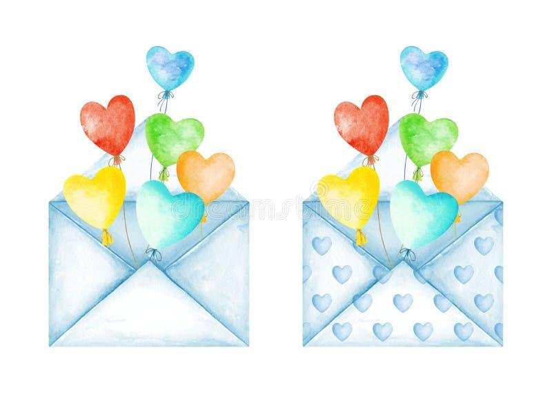 Envelopes bonitos da mensagem do amor Balões multicoloridos do coração Boa not?cia Dia do `s do Valentim Ilustra??o da aguarela ilustração royalty free