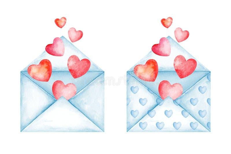 Envelopes bonitos da mensagem do amor Rosa e balões vermelhos do coração Boa not?cia Dia do `s do Valentim Ilustra??o da aguarela ilustração royalty free