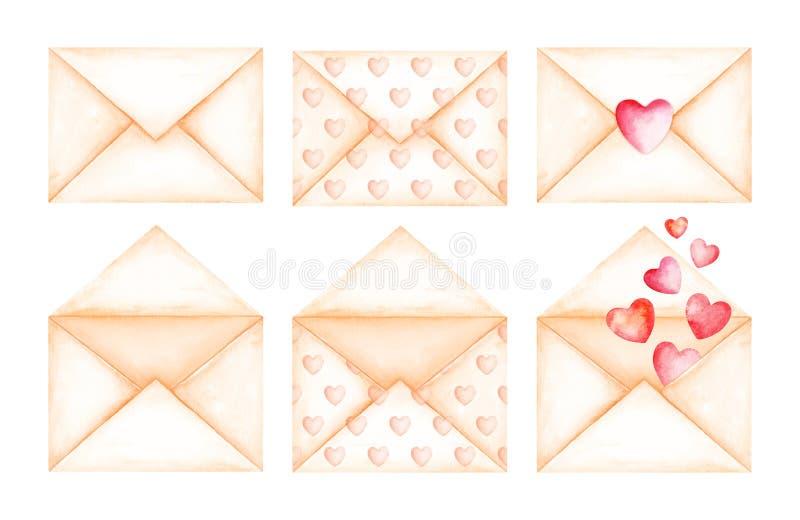 Envelopes bonitos do bege da mensagem do amor Ilustração da aguarela ilustração do vetor