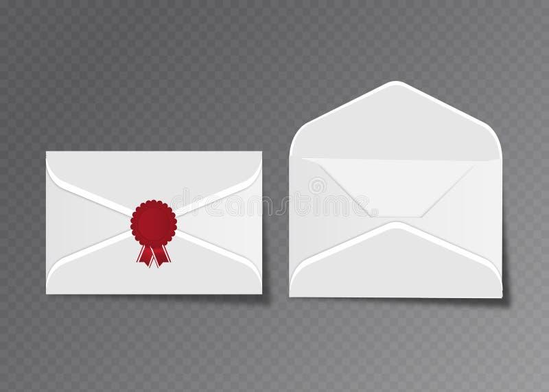 Envelopes brancos abertos e fechados do vetor Isolado no molde transparente do modelo do fundo, propaganda, cartões do convite ou ilustração do vetor