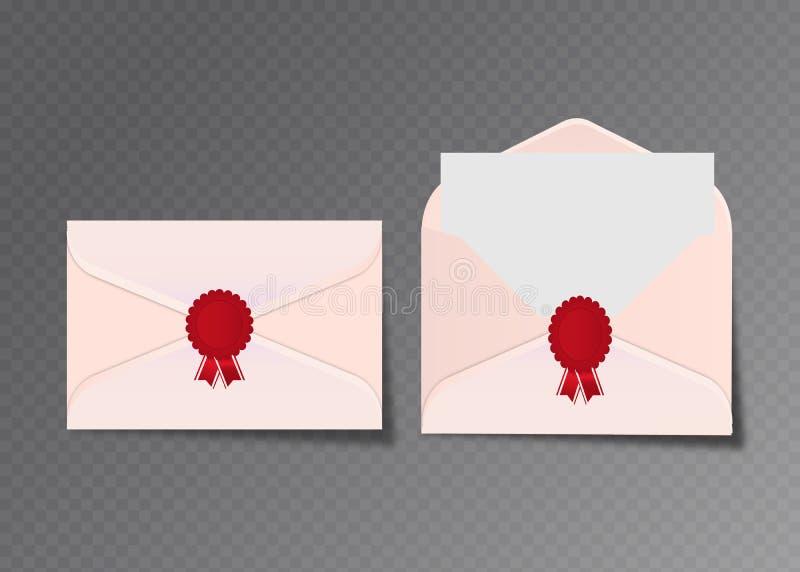Envelopes brancos abertos e fechados do vetor Isolado no molde transparente do modelo do fundo, propaganda, cartões do convite ou ilustração royalty free