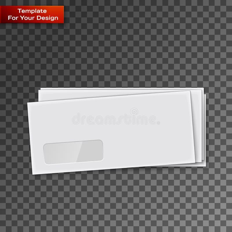 Envelopes brancos isolados em transparente ilustração do vetor
