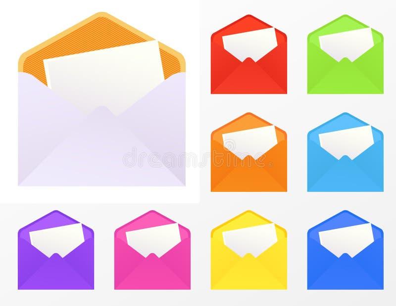 Envelopes coloridos ilustração stock