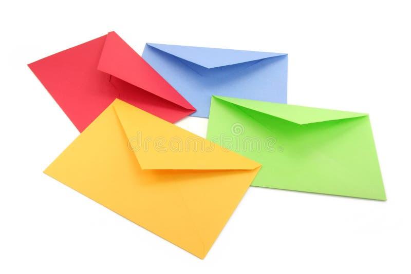 Envelopes coloridos fotografia de stock