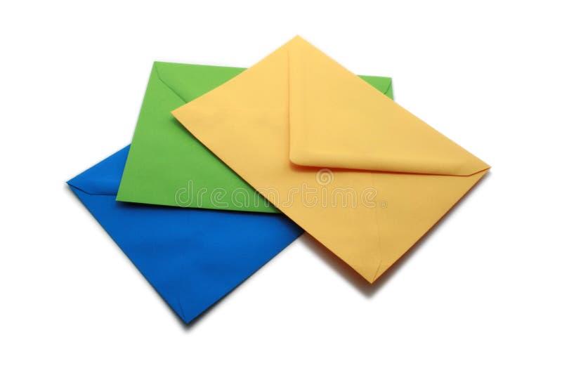 Envelopes coloridos imagens de stock