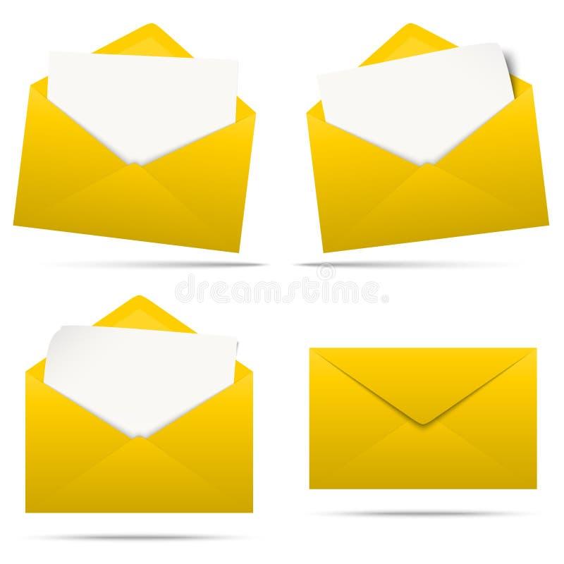envelopes coloridos com papel vazio ilustração stock