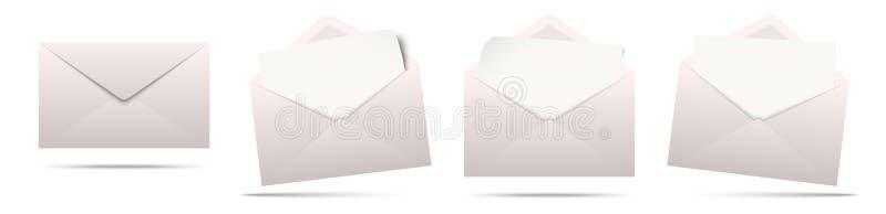envelopes coloridos com papel vazio ilustração royalty free