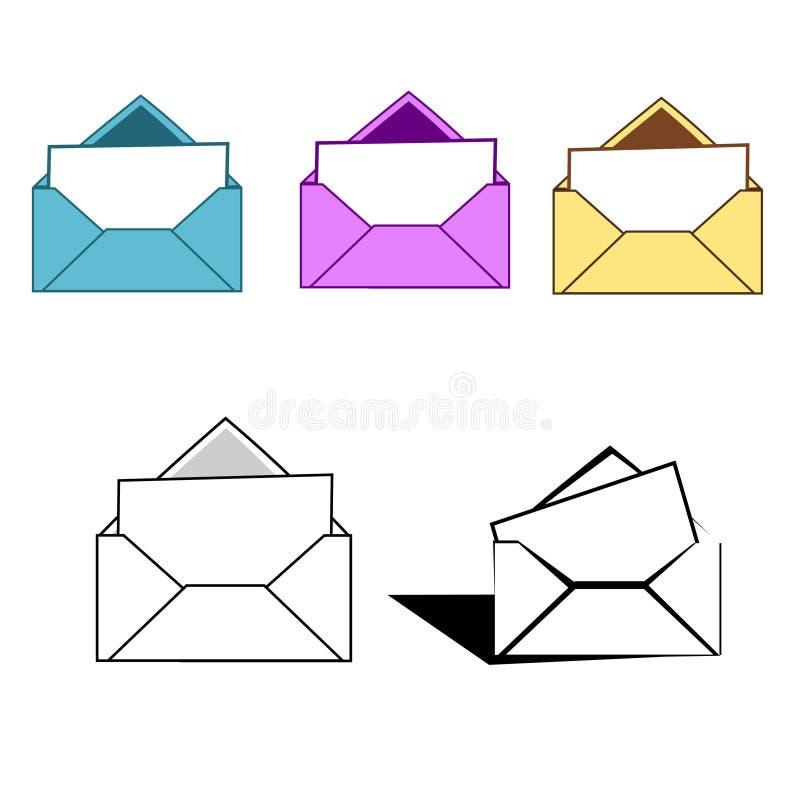 Envelopes coloridos da letra ilustração royalty free