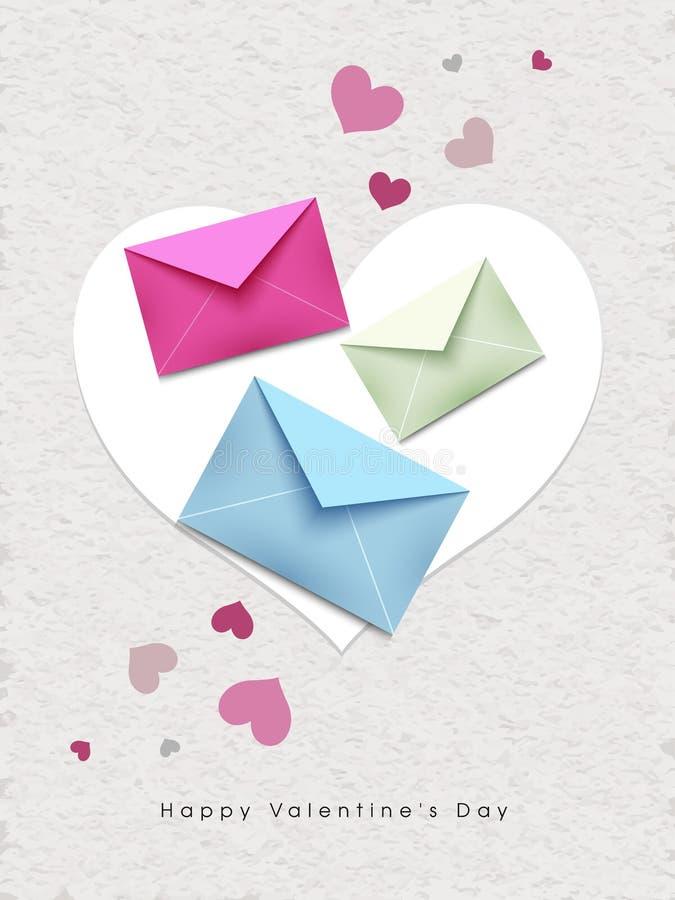 Envelopes coloridos da mensagem no fundo branco da textura, projeto de cartão do amor ilustração stock
