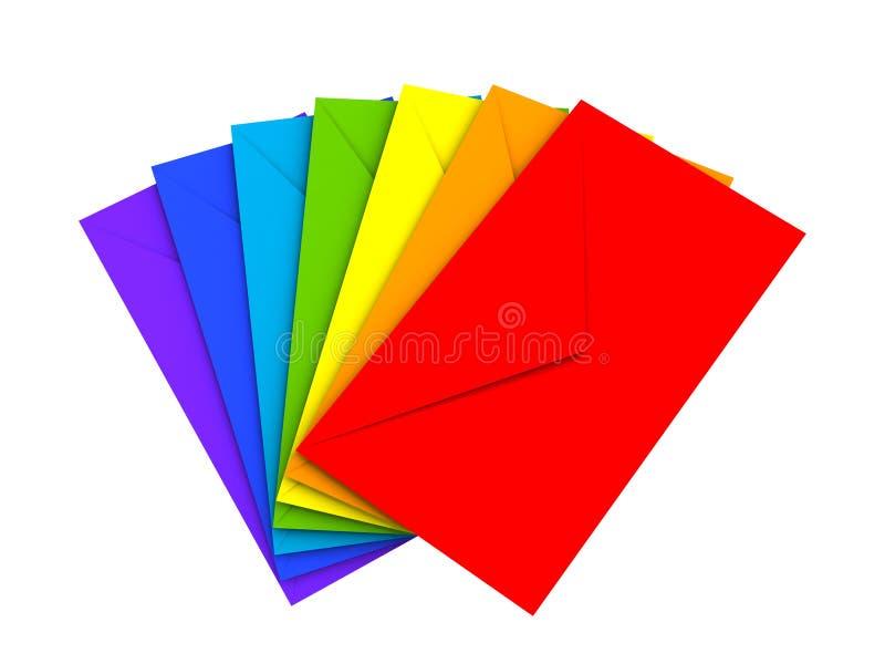 Envelopes coloridos isolados no fundo branco ilustração stock