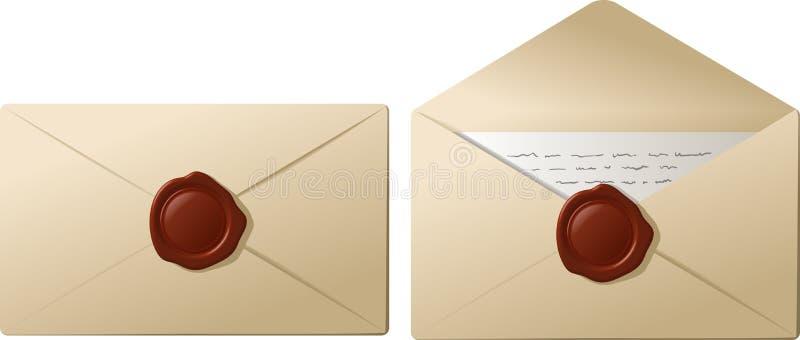 Envelopes com cera de selagem ilustração do vetor