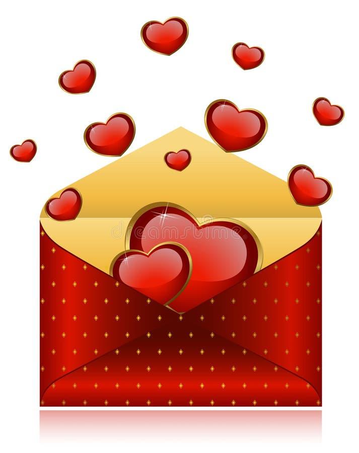 Envelopes com corações vermelhos ilustração stock