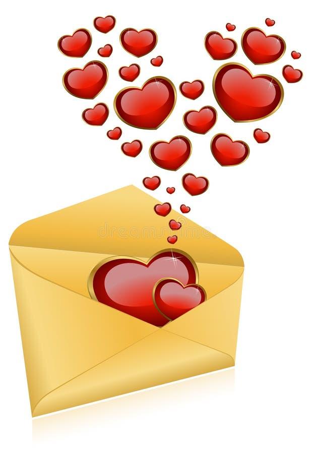 Envelopes com corações vermelhos ilustração royalty free